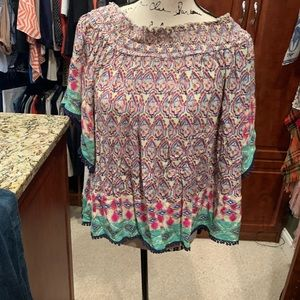 Short sleeve multicolored blouse